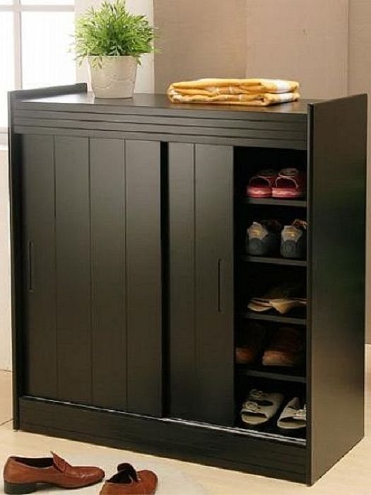 Black Shoe Organizer Cabinet With Doors