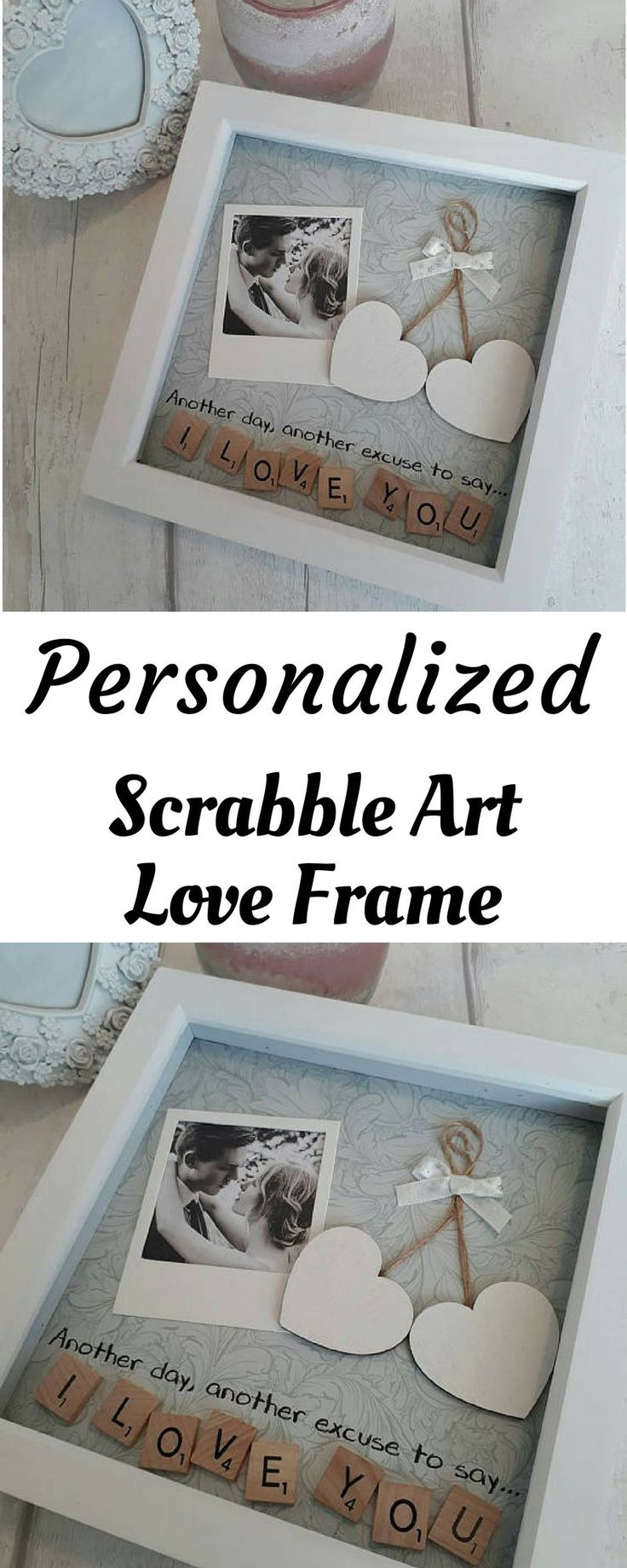 Valentines gift, Anniversary Gift Partner, Personalized Scrabble Art Frame, Present For Husband, Gift For Wife, Gift For Boyfriend #boyfriendanniversarygifts