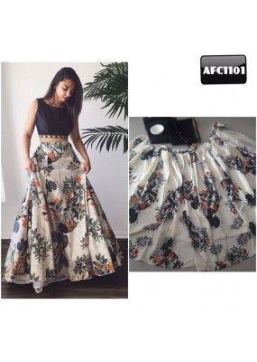Bollywood Replica - Fancy Black & Off-White Silk Crop Top Lehenga - AFC1101