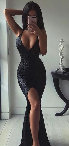 Evening Dresses, Cocktail V-Neck Sexy Mermaid Black Sequins Cheap Long Prom Dresses , PD0893 Evening Dresses, Cocktail V-Neck Sexy Mermaid Black Sequins Cheap Long Prom Dresses , PD0893