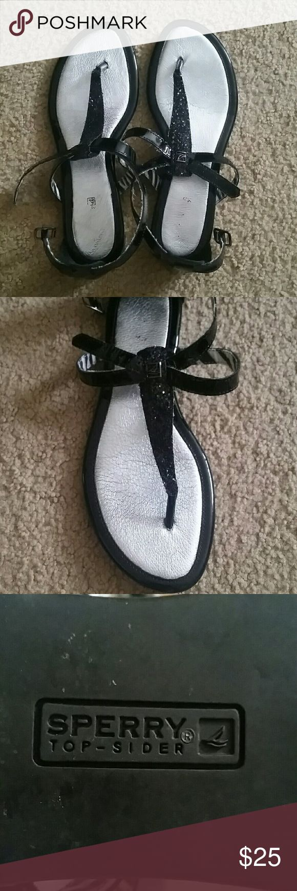 Sperry Sandals Black sparkley Sperry sandal worn once Sperry Top-Sider Shoes Sandals