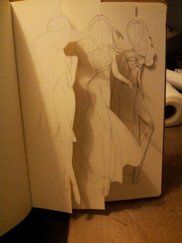 Fashion figures as tabs in my art journal. Miranda Bosch - Thurlings