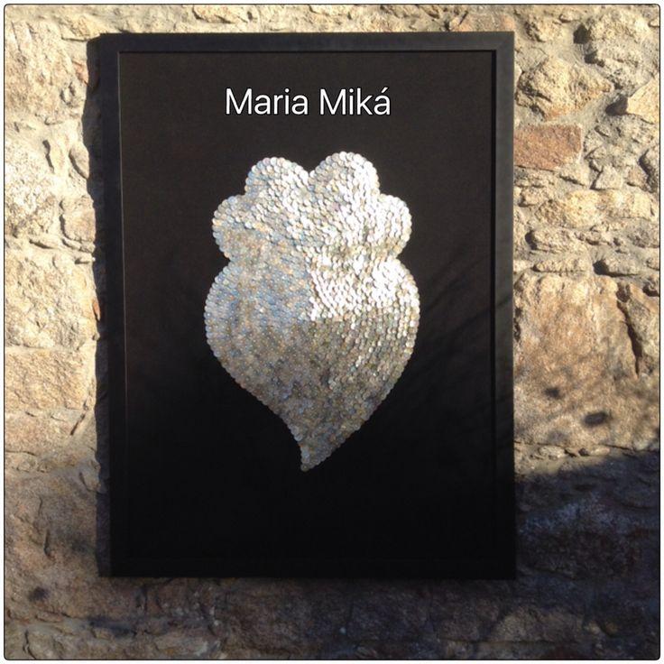 Quadro Coração de Viana com 1289 Botões em madrepérola by Maria Miká