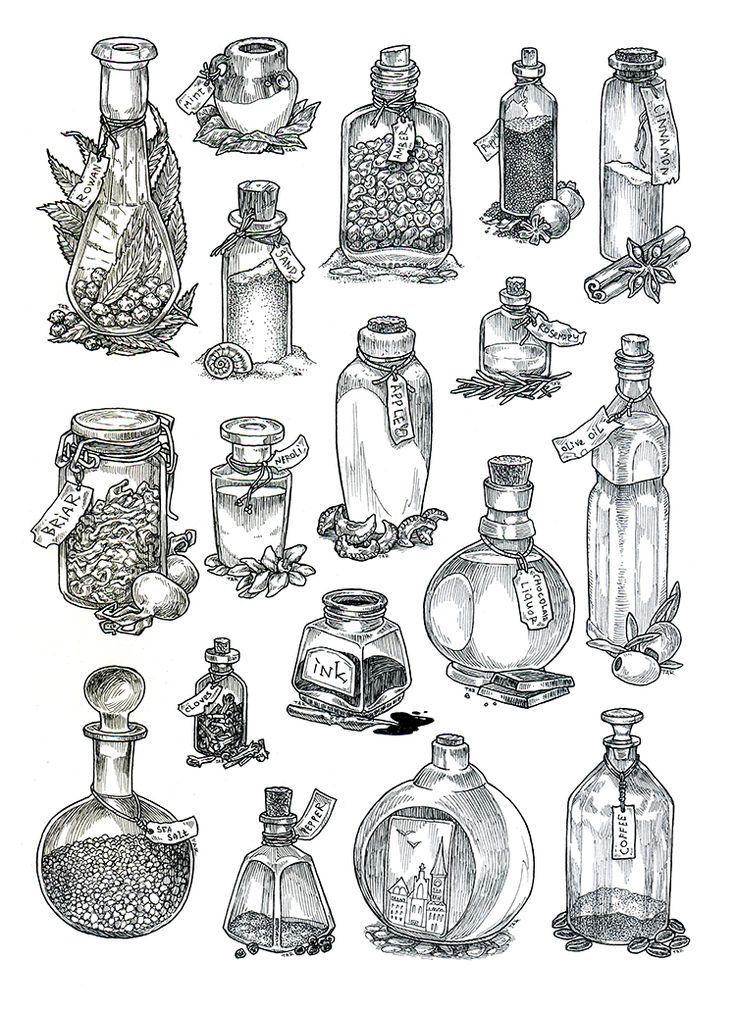 Bottles - lineart by JuliaTar