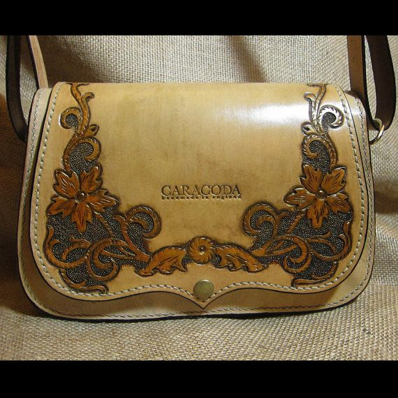 Leather shoulder bag Carmen carved vintage antique by CARACODA, £179.99