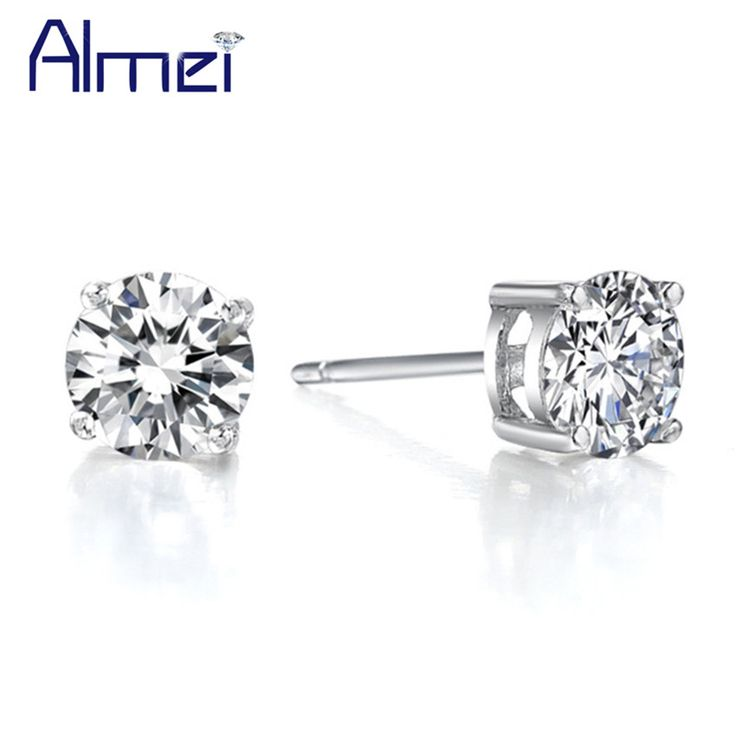 Find More Stud Earrings Information about New Coming Shiny 925 Sterling Silver Stud Earrings CZ Zircon Fashion 2016 Women Jewelry Wedding Party For Bridal Wholesale R054,High Quality jewelry box with key,China jewelry party food Suppliers, Cheap party jewelry from Almei Jewelry Store on Aliexpress.com