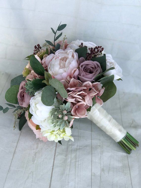 Hochzeitsstrauß, staubige Rose Brautstrauß, erröten Hochzeitsstrauß, Pfingstrosenstrauß, lila / staubige Rose Hochzeitsblumen, Seide