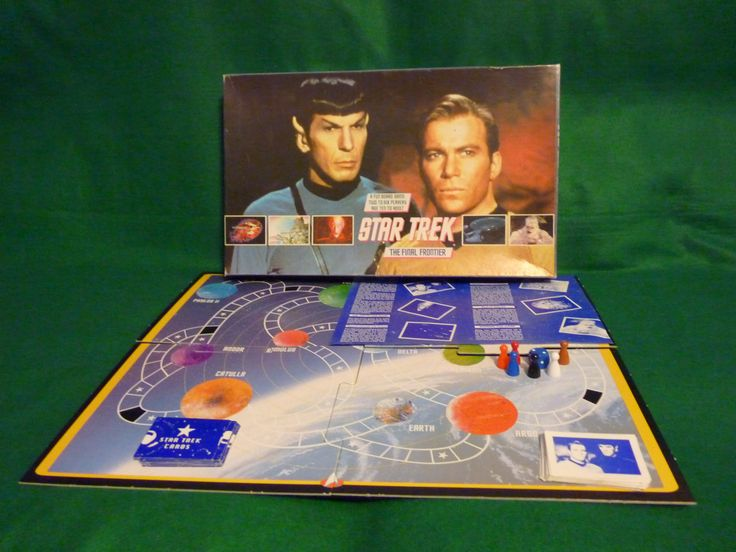 1992 Star Trek The Final Frontier Board Game. Uncomplicated game where players must answer questions from each of five categories correctly to enable them to navigate to each of four planets, obtain citations, and return to StarFleet with an intact and fully functional ship. The winner is appointed Admiral for the rest of the day as they run around the garden.