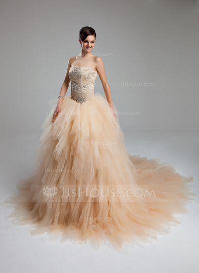 Ball-Gown Sweetheart Cathedral Train Tulle Wedding Dress With Ruffle Lace Beading (002012565) - JJsHouse
