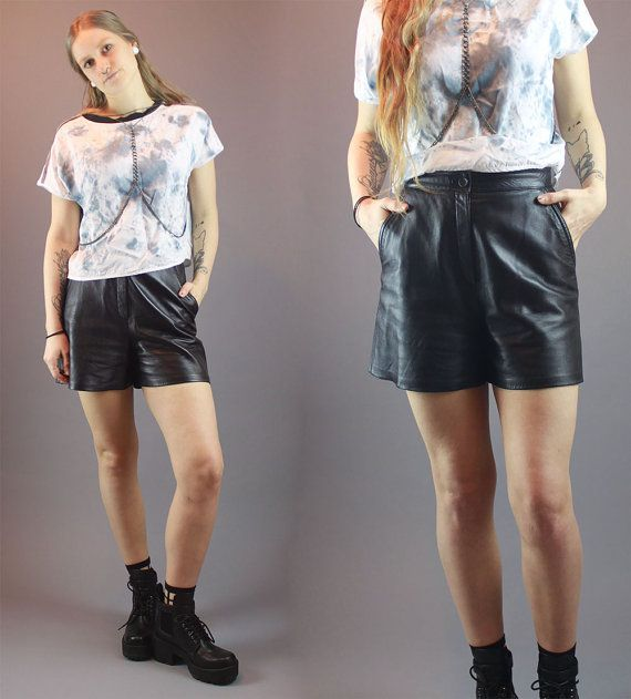 Vintage 80s Shorts Black Italian Leather by BadassVintageRevival