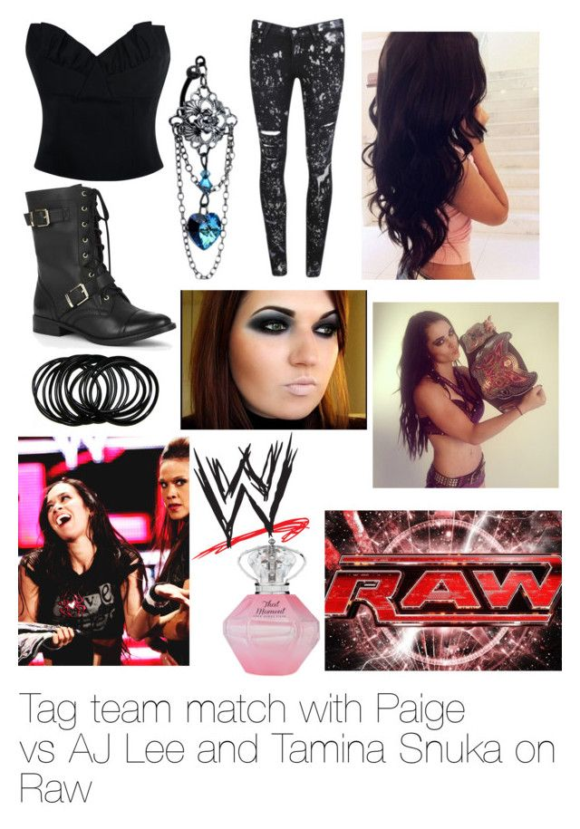 """""""Tag team match with Paige vs AJ Lee and Tamina Snuka on Raw"""" by wwediva72 ❤ liked on Polyvore featuring Paige Denim, Simone Rocha, Sole Society, Nuevo, Monday and WWE"""