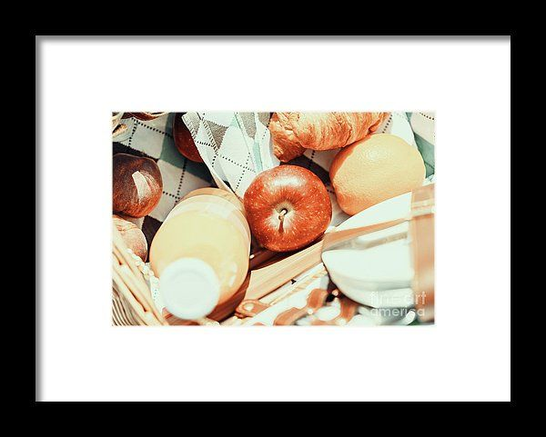 Juice Bottle, Peaches, Apple, Orange And Croissant In Food Picnic Basket Framed Print