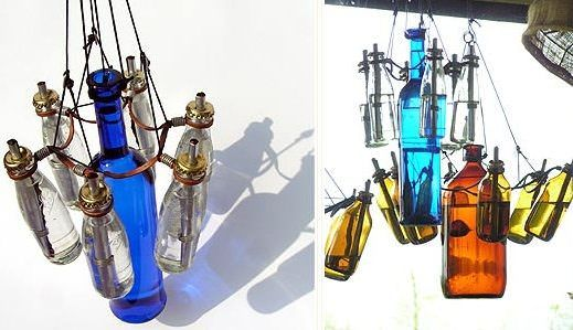 Very nice chandelier made with old bottles.    ++ North Glen Glass BottleWorks #Bottle, #Chandelier