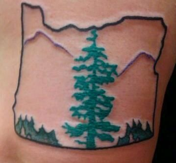 "I never considered an Oregon tattoo... I kind of love it though. Maybe the ""Made in Oregon"" style though."
