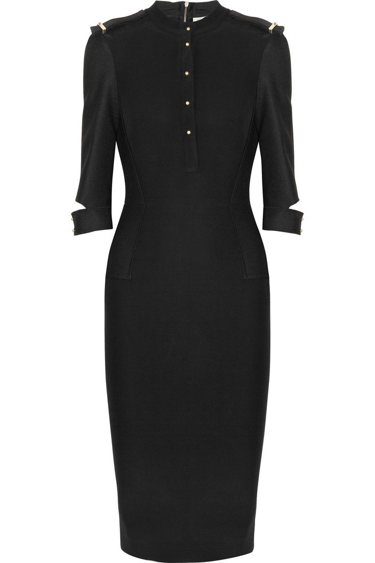 Victoria Beckham Silk and Wool-Blend Crepe Dress in Black