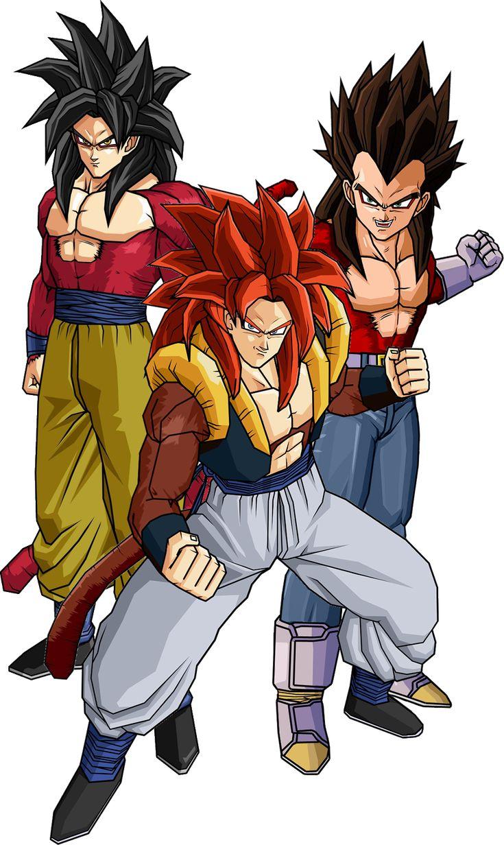 Super Saiyan 4 Goku, Vegeta, and Gogeta