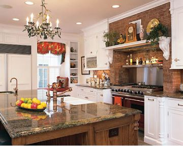 Restored English Country Style Kitchen, love the brick