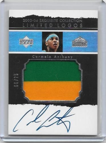 2003-04 UD Exquisite Carmelo Anthony Limited Logos rookie auto patch /75 card