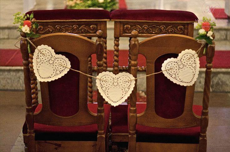 #slubne #kwiaty #idyllic #wedding #flower #church #paper #hearts #manufakturaslubna #sluby #decoratons