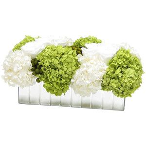 Rect. Mirror Vase, White Roses, Yellow Brunia, White and Basil Hydrangea - Transitional - Artificial Flower Arrangements - by Bougainvillea
