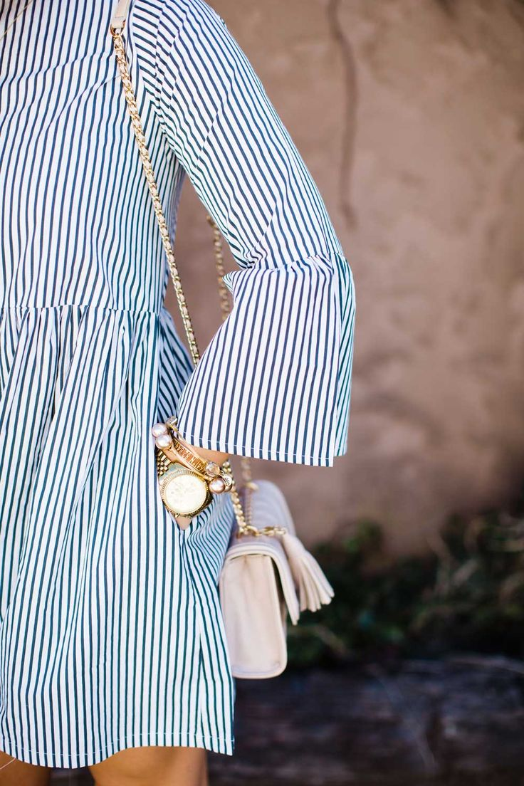 Long sleeve dress, Striped dress, Bell sleeve dress, Spring Dress