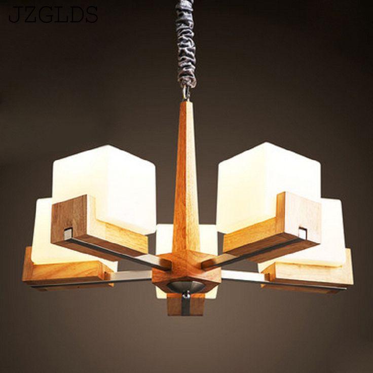 Nordic дерево люстра лампа гостиная современная художественная личность спальня ден цвет древесины деревянные люстры купить на AliExpress