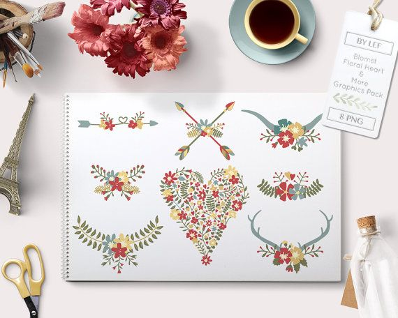 By Lef graphics on Etsy Flower ClipArt Flower Heart Love Antlers Wreaths Arrows and Laurels. Hand drawn set for creating cards invitations for weddings graphics by ByLef