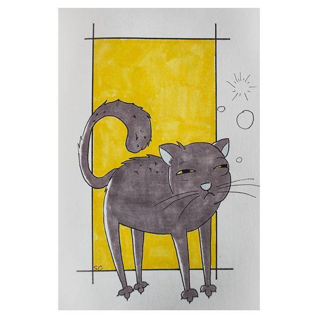 Endormi, grognon le chat.  #drawing #dessin #doodle #yellow #cat #chat #miaou #art #instaart #instaartist #ink #color #sleepy #sleepycat #grumpy #grumpycat #sketchbook #sketch