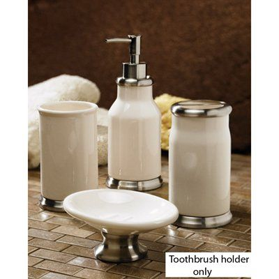 Moda at Home Moda at Home 102486 White Dolomite Transition Toothbrush Holder With Metal Accents