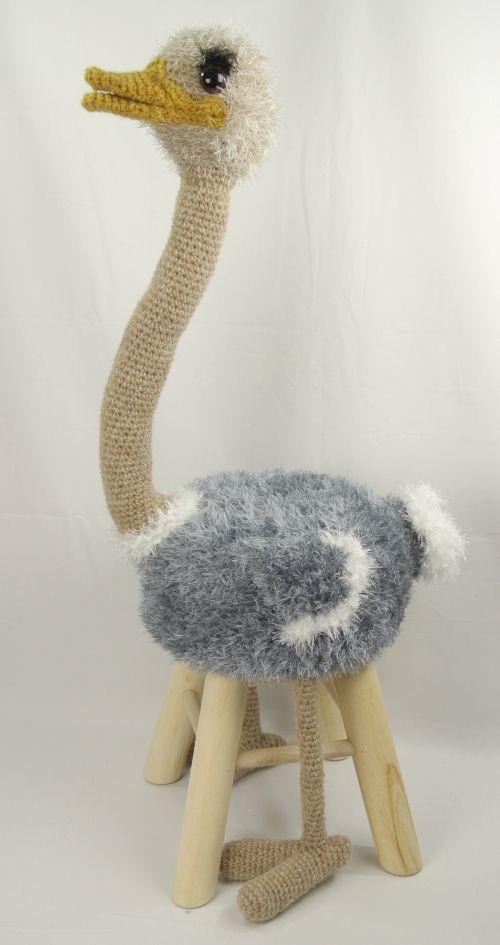 Dieren kruk struisvogel Haakpret
