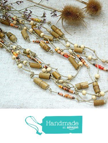 Bamboo bead necklace Tribal necklace ethnic necklace Gift for mom African Kenya Paper mache upcycled Eco friendly Beach wedding jewelry Boho necklace from KatrinHandmadeGifts