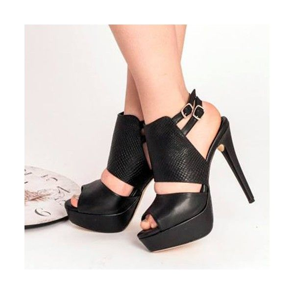 Women's Style Sandal Shoes Black Peep Toe Platform Stiletto Heels   Buckle Slingback Ankle Strap Sandals Women's Chic Fashion Illustration for Party, Night club, Date   FSJ