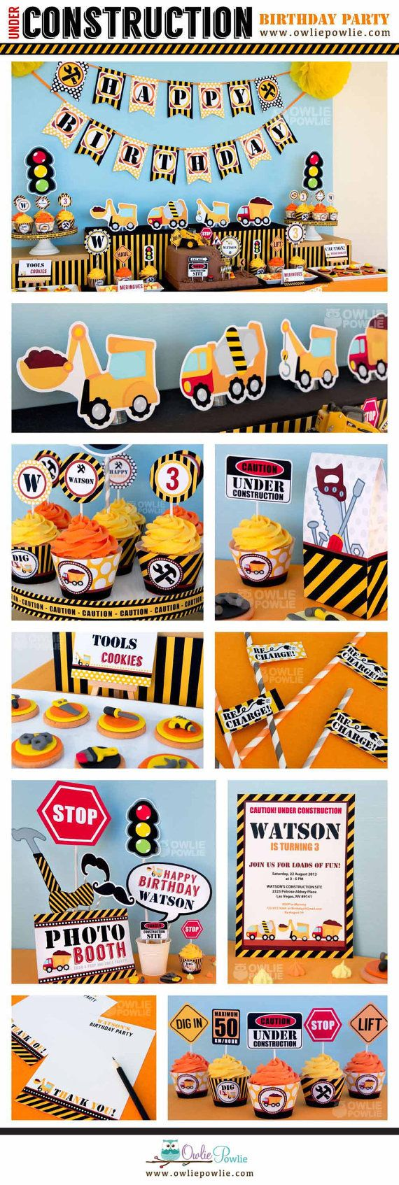 Construction BIRTHDAY Party Printable Package & by OwliePowlie