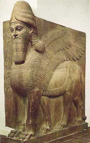 """One of the Winged lions from the city gates. Babylon was an ancient city on the left bank of the Euphrates, about 70 m. S. of Bagdad. """"Babylon"""" is the Greek form of Babel or Bab-ili, """"the gate of the god"""" (sometimes incorrectly written """"of the gods""""), which again is the Semitic translation of the original Sumerian name Ka-dimirra."""