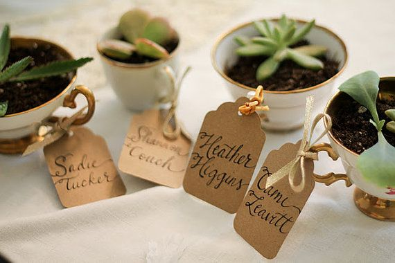 Teacup Name Tags or Escort Cards Kraft Paper Wedding Tags and Calligraphy Featured on Style Me Pretty Calligraphy Name Tags on Etsy, $1.25