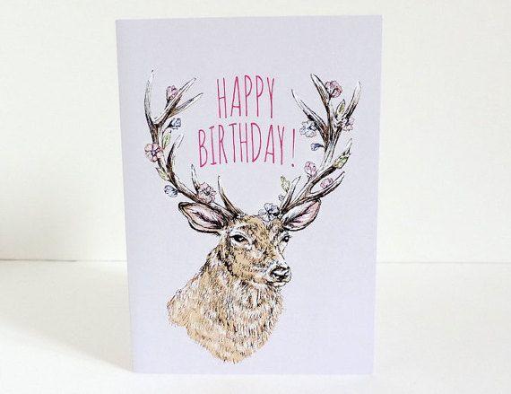 Happy Birthday Greetings Card  A6 Stag Deer Watercolour Ink