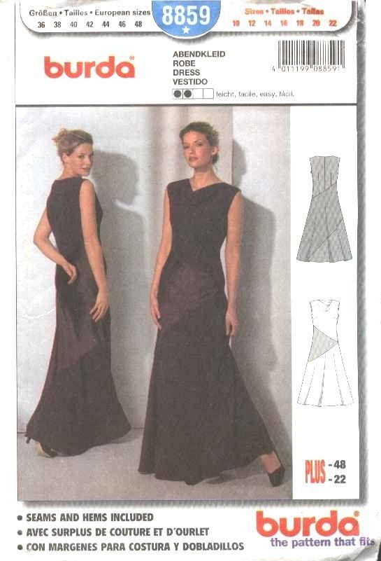 Burda Sewing Pattern 8859 Misses Size 10-22 Easy Formal Long Dress   Burda+Sewing+Pattern+8859+Misses+Size+10-22+Easy+Formal+Long+Dress