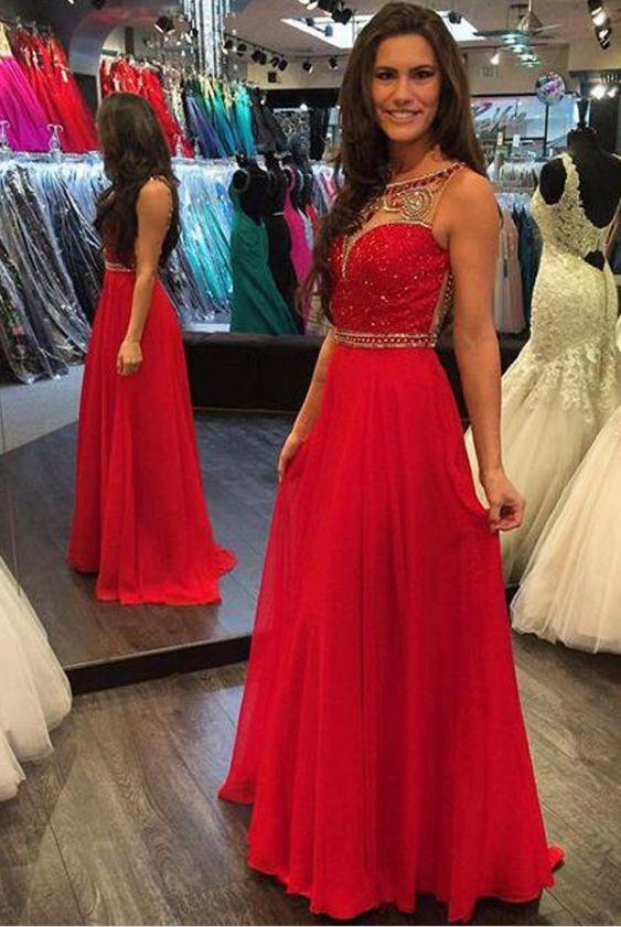 A-Line Bateau Sleeveless Floor-Length Red Chiffon Prom Dress with Beading