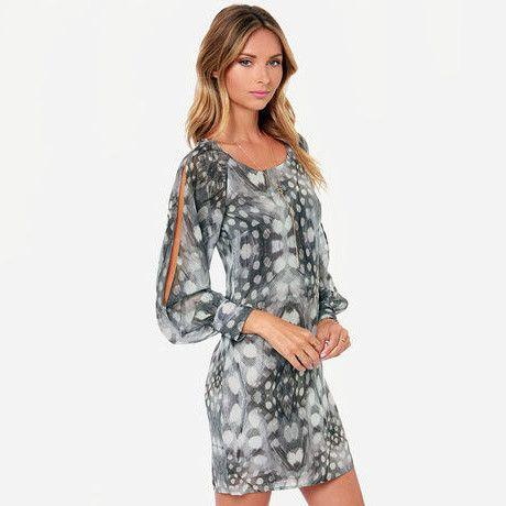 Sexy O-Neck Pastel Printed Empire Dresses Full Sleeve Mini Dress
