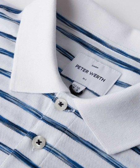 Marble Space Dye Stripe Pique Polo Shirt White