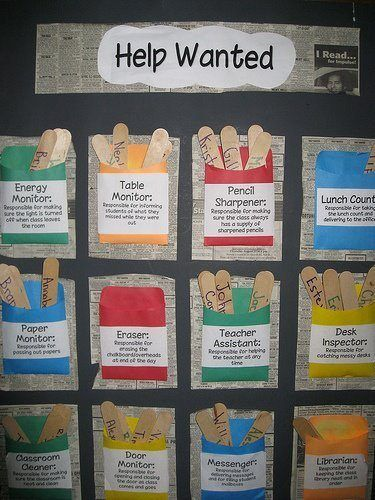 This is a super adorable way to organize your classroom helpers! You can easily switch your helpers each week, because all of the names of your students are on Popsicle sticks.  I also think it's nice that the job descriptions are visible on each job pocket. I think that this will make the students feel more important and needed in the classroom and will help them learn responsibility.  -Courtney Deprez