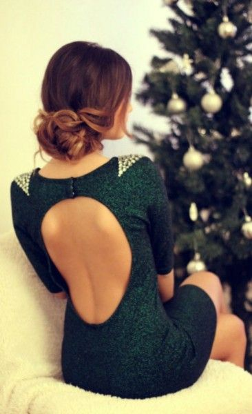 Green open back dress. My favorite color especially for holidays, plus the gold beaded accent is beautiful