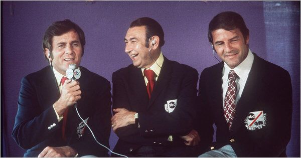 From left, Don Meredith, Howard Cosell and Frank Gifford on 'Monday Night Football' on ABC in 1973. The Associated Press.