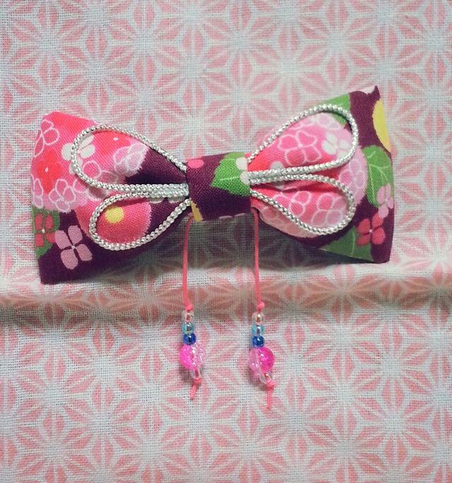 【浴衣髪飾り】和柄あそび♪リボン(アジサイ*ピンク) by jillcoco-801 アクセサリー ヘアアクセサリー