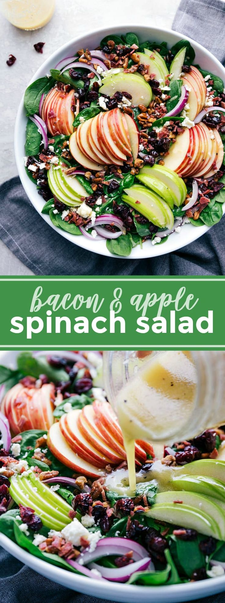 The perfect Fall Spinach Salad with spinach, apples, red onion, dried cranberrie…