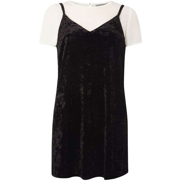 Dorothy Perkins **Petite Velvet 2-In-1 Dress ($55) ❤ liked on Polyvore featuring dresses, black, petite, petite cocktail dress, dorothy perkins, velvet cocktail dress, velvet dress and petite dresses