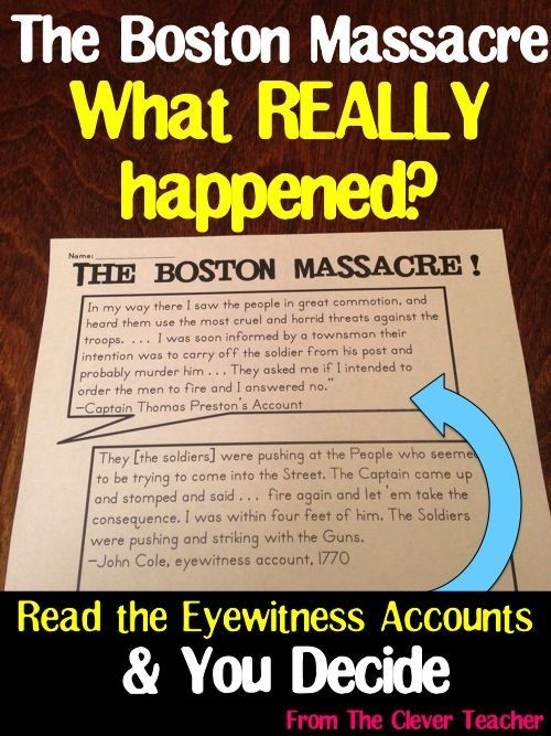 primary sources of boston massacre The boston massacre of march 5, 1770 in documents primary document teaching kit this teaching kit was designed to provide primary sources about the boston massacre that can be incorporated into the classroom in a variety of ways and for a wide range of grade levels.