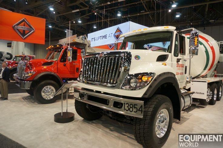 Navistar's International WorkStar trucks on display at a trade show.