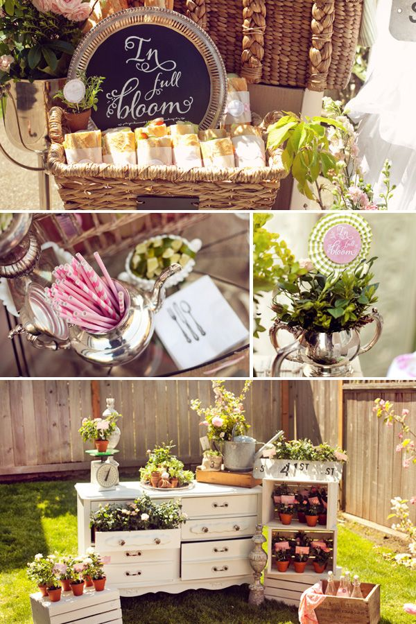 Garden Baby Shower Ideas pink garden baby shower ideas French Bistro Baby Shower