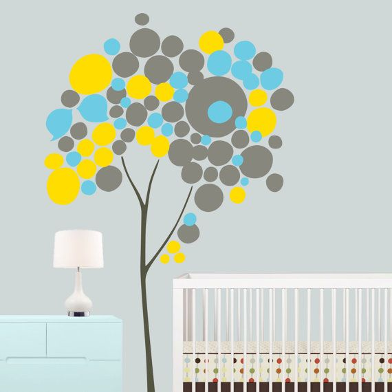 Children Wall Decal - Tree Wall Decal - Circle Tree for Gray Nursery - Yellow Gray Nursery - OnceUponAPaper Print - Nursery Wall Art